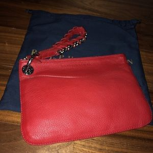 Ralph Lauren Collection Red Leather Wristlet New